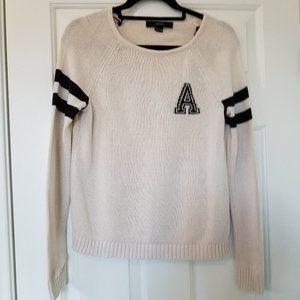 Forever 21 Long Sleeve Ivory Varsity Sweater